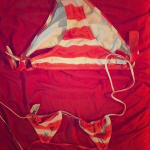 Hurley orange and White string bikini